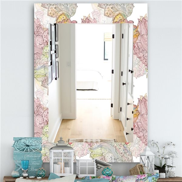 DesignArt 35.4-in x 23.6-in Watercolor Painting With Ethnic Motif Bohemian and Eclectic Rectangular Mirror