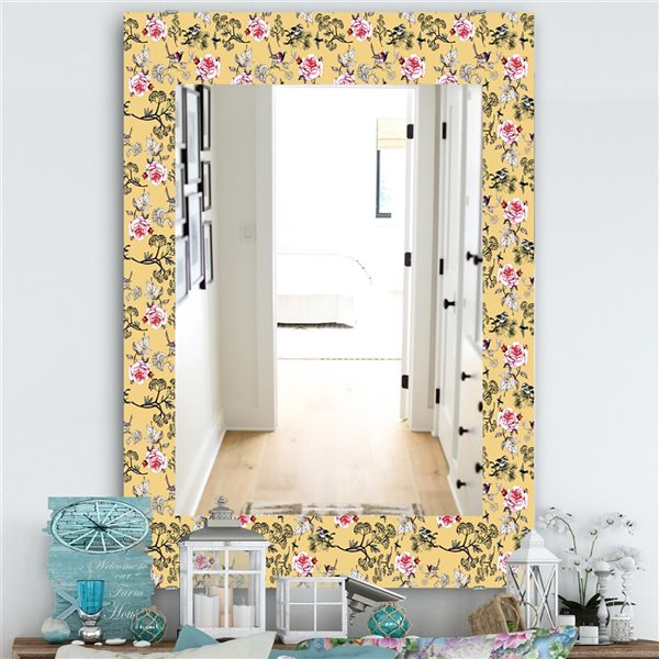 DesignArt 35.4-in x 23.6-in Floral and Birds In Yellow Traditional Rectangular Mirror