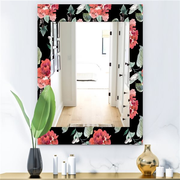 DesignArt 35.4-in x 23.6-in Obsidian Bloom 1 Traditional Rectangular Mirror