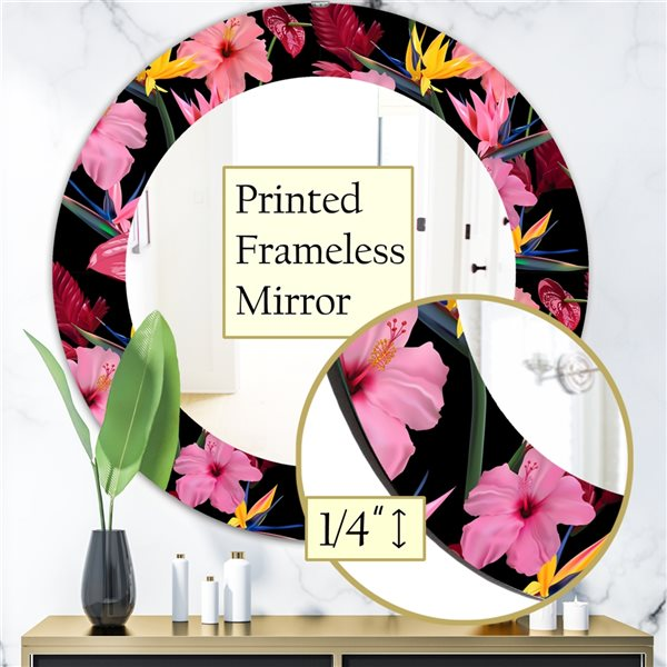 DesignArt 24-in x 24-in Obsidian Bloom 8 Bohemian and Eclectic Mirror