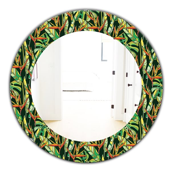 DesignArt 24-in x 24-in Tropical Mood Foliage 5 Bohemian and Eclectic Mirror