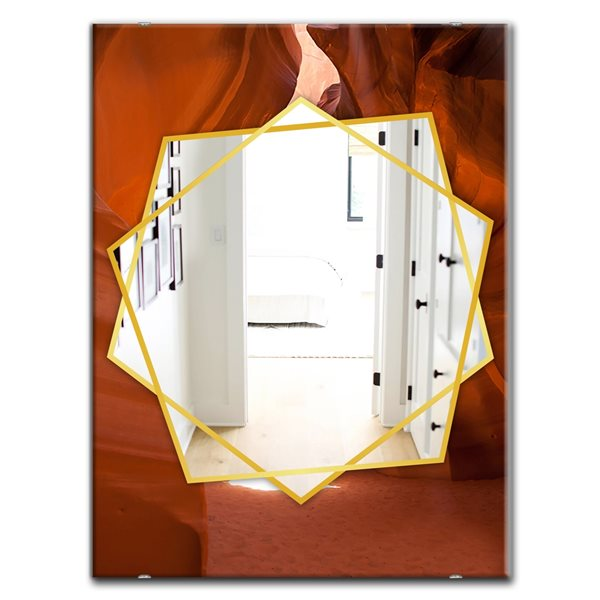 DesignArt 35.4-in x 23.6-in Light Beam In Antelope Canyon In Arizona Traditional Rectangular Mirror