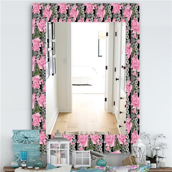 DesignArt 35.4-in x 23.6-in Pink Blossom 6 Traditional Rectangular Mirror