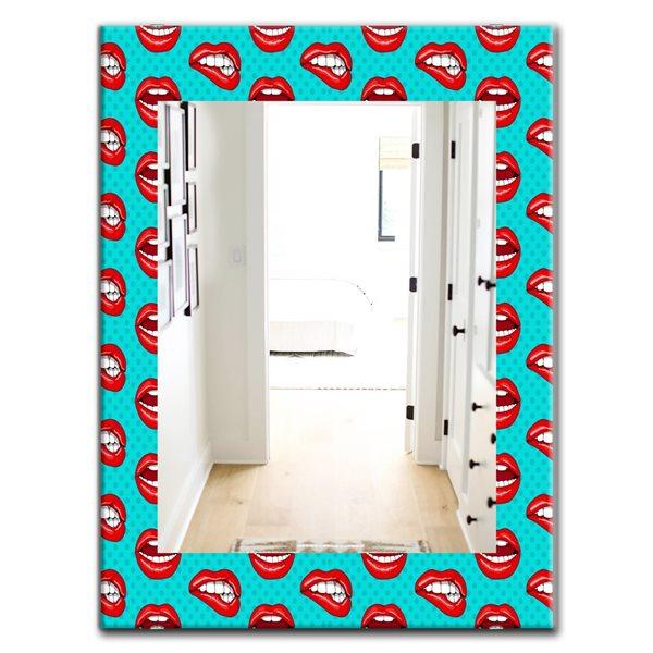DesignArt 35.4-in x 23.6-in Hot Lips Modern Rectangular Mirror
