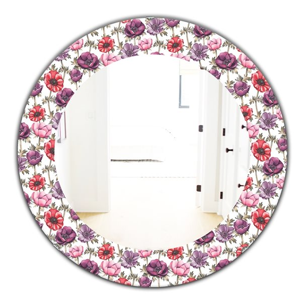 DesignArt 24-in x 24-in Purple Bloom 2 Traditional Mirror