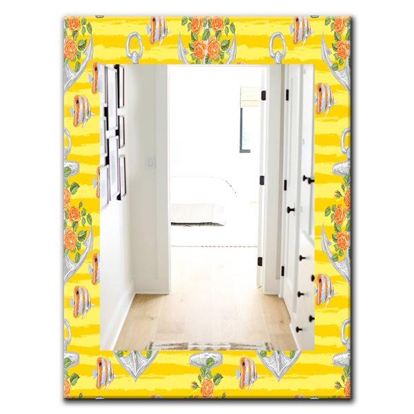 DesignArt 35.4-in x 23.6-in Yellow Moods 9 Traditional Rectangular Mirror