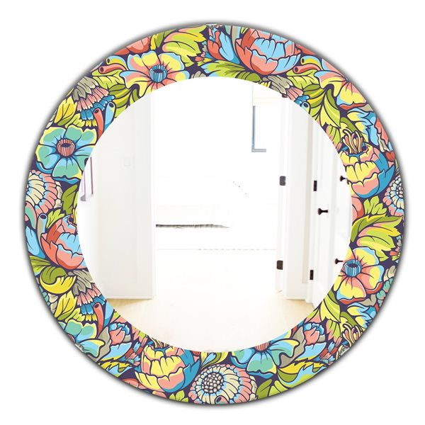 DesignArt 24-in x 24-in Pink Blossom 10 Traditional Mirror