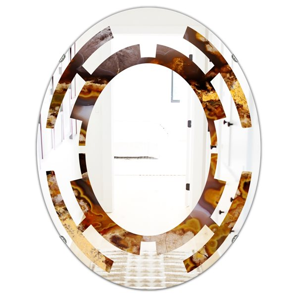 DesignArt 23.7-in x 31.5-in Sand Close Up Modern Oval Wall Mirror