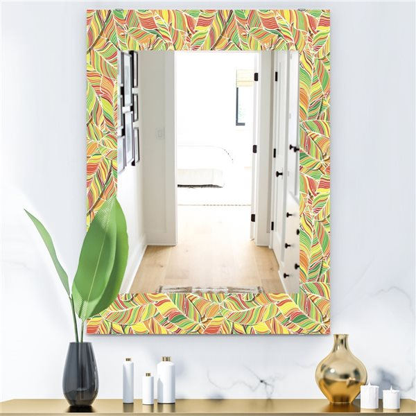 DesignArt 35.4-in x 23.6-in Tropical Mood Bright 1 Bohemian and Eclectic Rectangular Mirror