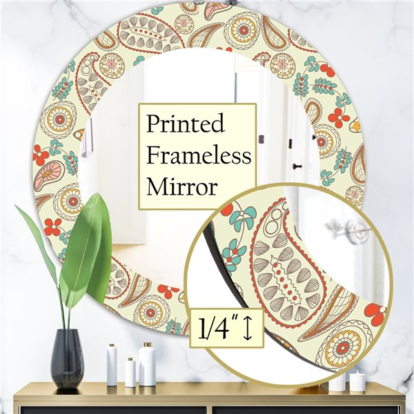 DesignArt 24-in x 24-in Paisley 1 Bohemian and Eclectic Mirror