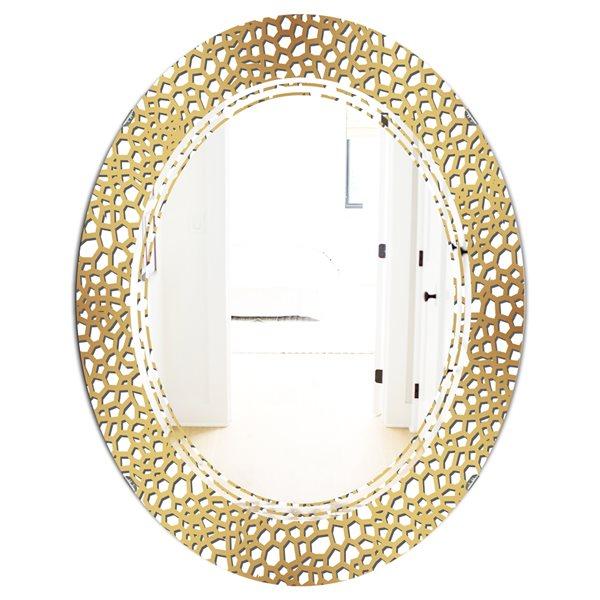 DesignArt Golden Maze Modern Oval 31.5-in x 23.7-in Wall Mirror