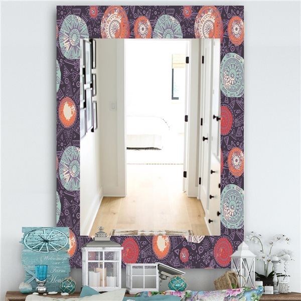 DesignArt 35.4-in x 23.6-in Pattern With Graphic Doodle Suns Modern Rectangular Mirror
