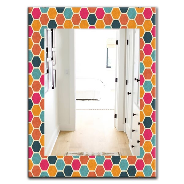 DesignArt 35.4-in x 23.6-in Honeycomb 1 Modern Rectangular Mirror