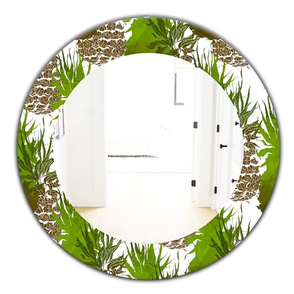 DesignArt 24-in x 24-in Tropical Mood Foliage 11 Bohemian and Eclectic Mirror
