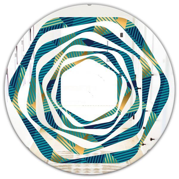 DesignArt Retro Luxury Waves In Gold And Blue VII 24-in Modern Round Wall Mirror