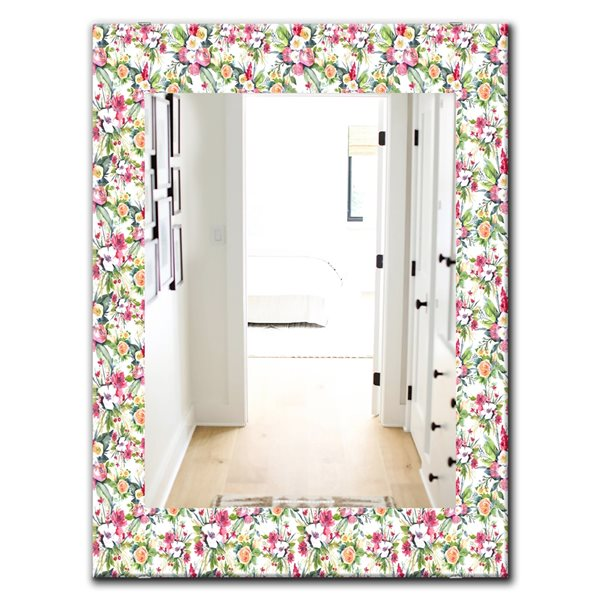 DesignArt 35.4-in x 23.6-in Green Flowers 3 Traditional Rectangular Mirror