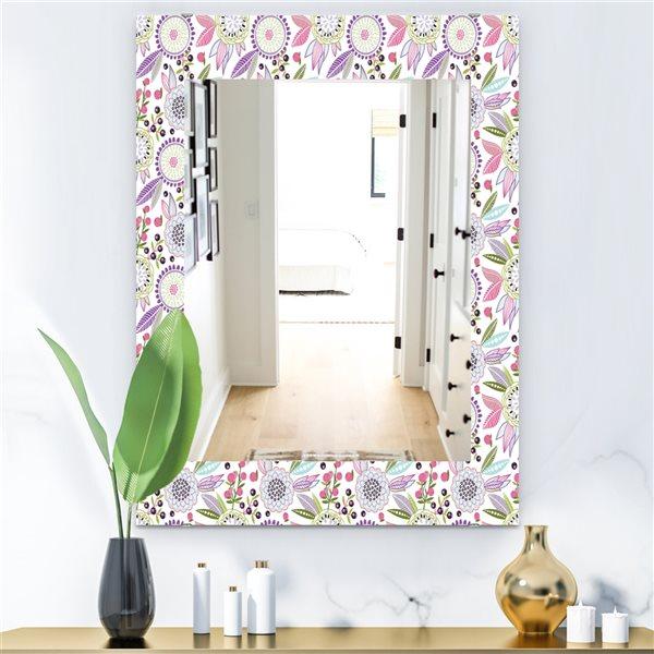 DesignArt 35.4-in x 23.6-in Pink Blossom 9 Modern Rectangular Mirror