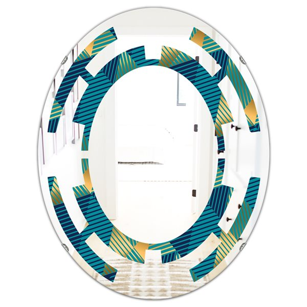 DesignArt Retro Luxury Waves In Gold And Blue VII 23.7-in x 31.5-in Modern Oval Wall Mirror