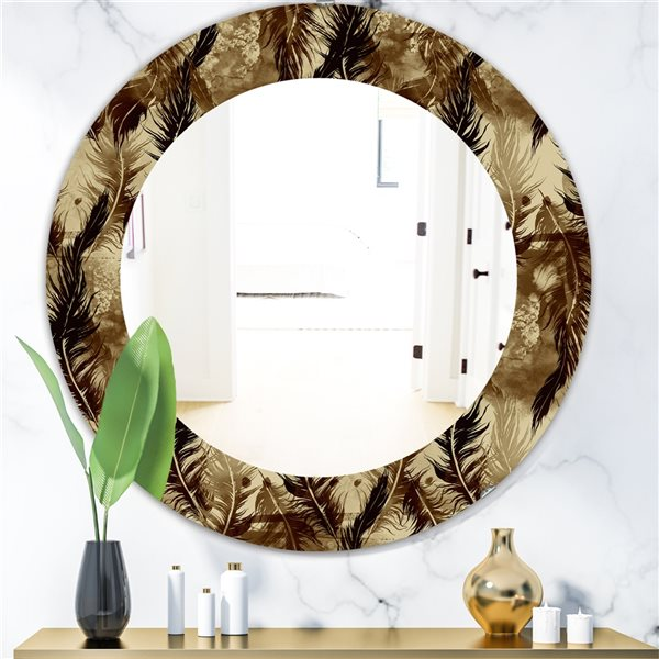 DesignArt 24-in x 24-in Feathers 15 Bohemian and Eclectic Mirror