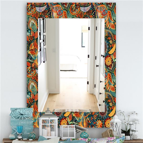 DesignArt 35.4-in x 23.6-in Paisley 4 Bohemian and Eclectic Rectangular Mirror