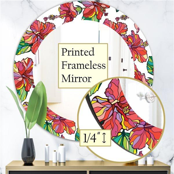DesignArt 24-in x 24-in Tropical Mood Foliage 6 Traditional Mirror