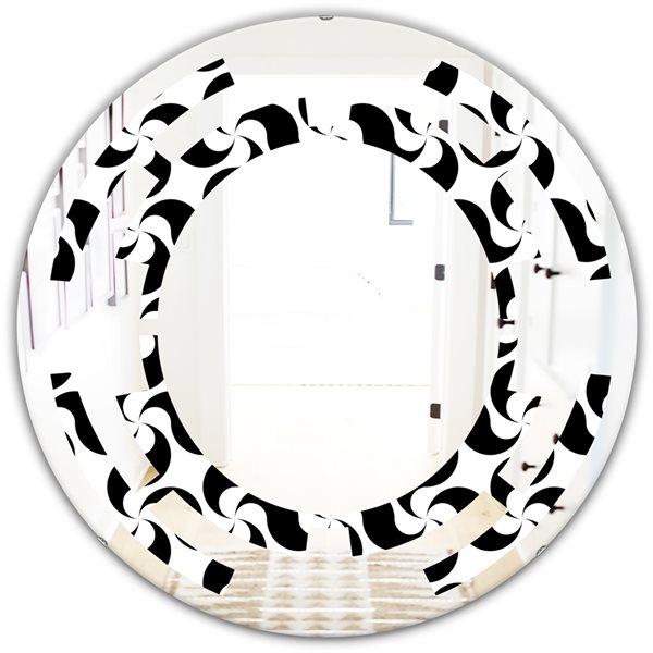 DesignArt 24-in Monochrome Geometric Pattern IV Modern Round Wall Mirror