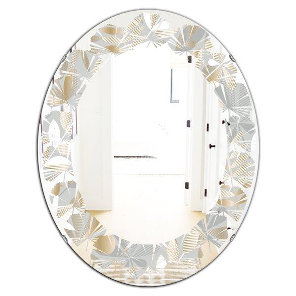 DesignArt 31.5-in x 23.7-in Oval Golden Tropical Pattern VIII Modern Wall Mirror