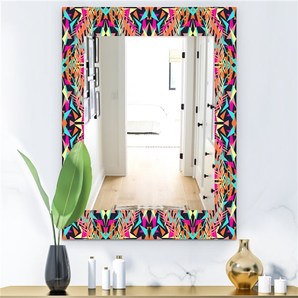 DesignArt 35.4-in x 23.6-in Electro Boho Color Trend Bohemian and Eclectic Rectangular Mirror