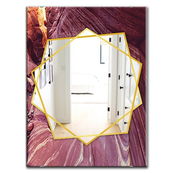 DesignArt 35.4-in x 23.6-in Grand Staircase Escalante National Park Canyon Sandstone Rectangular Mirror