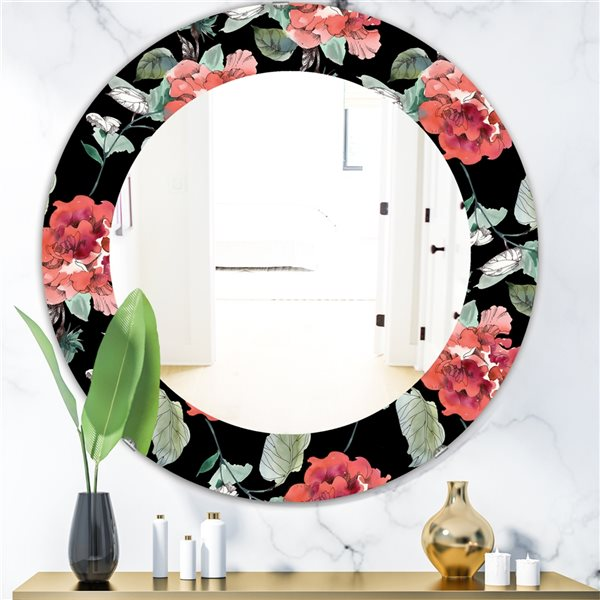 DesignArt 24-in x 24-in Obsidian Bloom 1 Traditional Mirror