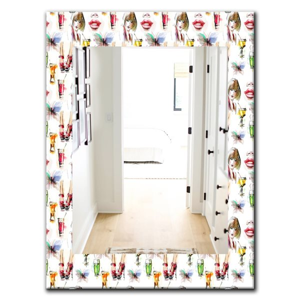 DesignArt 35.4-in x 23.6-in Beauty and Fashion Pattern With Girls Modern Rectangular Mirror