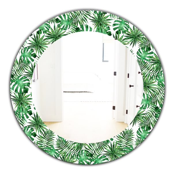 DesignArt 24-in x 24-in Tropical Mood Foliage 8 Bohemian and Eclectic Mirror