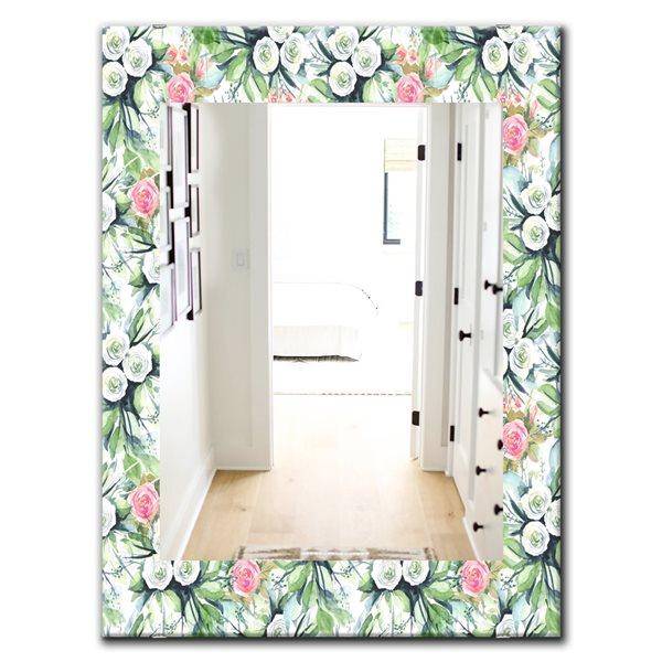 DesignArt 35.4-in x 23.6-in Green Flowers 12 Traditional Rectangular Mirror