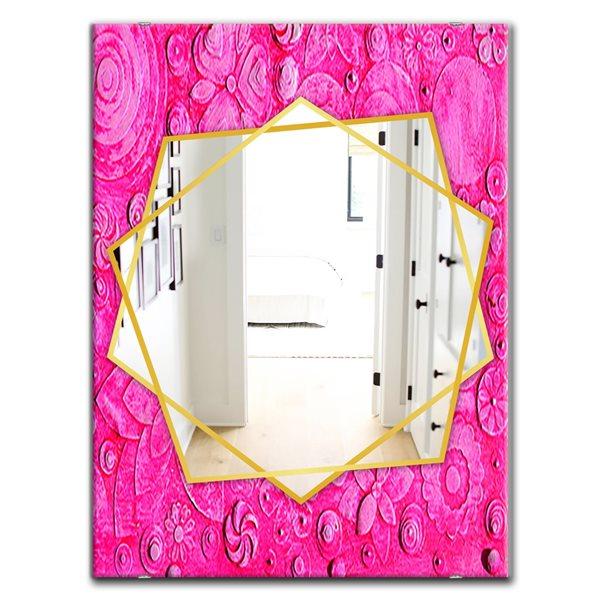 DesignArt 35.4-in x 23.6-in Summer HawaIIn Flowers Traditional Rectangular Mirror