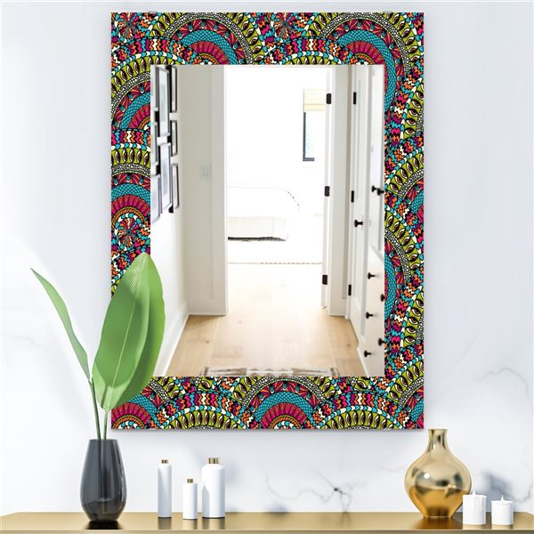 DesignArt 35.4-in x 23.6-in Colorful Ethnicity Round Ornament Bohemian and Eclectic Rectangular Mirror