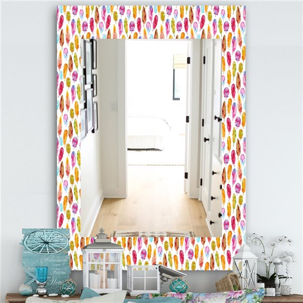 DesignArt 35.4-in x 23.6-in Pattern With Colorful Feathers Rectangular Mirror