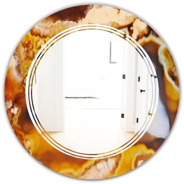 DesignArt 24-in x 24-in Natural brown agate Round Wall Mirror