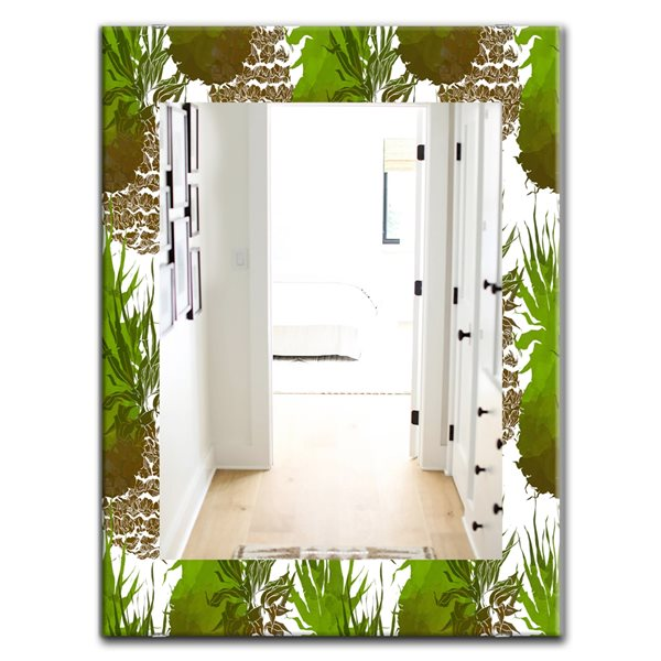 DesignArt 35.4-in x 23.6-in Tropical Mood Foliage 11 Bohemian and Eclectic Rectangular Mirror