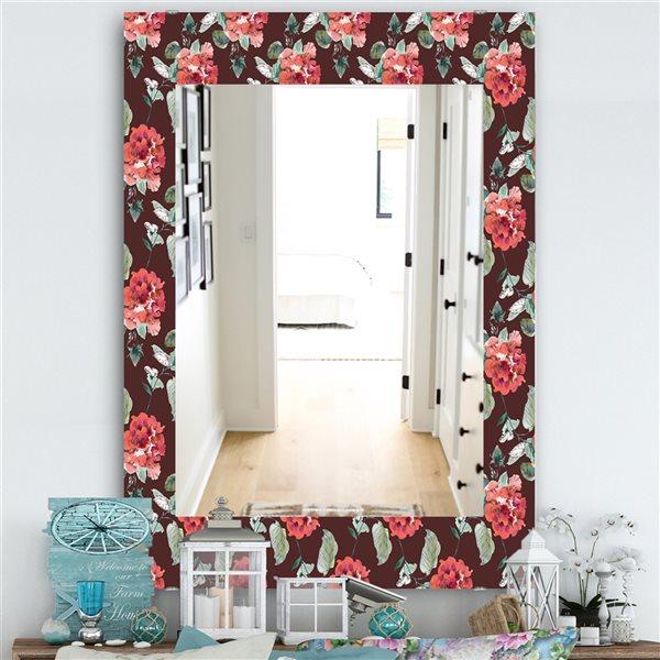 DesignArt 35.4-in x 23.6-in Obsidian Bloom 2 Traditional Rectangular Mirror