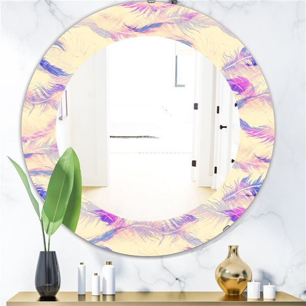 DesignArt 24-in x 24-in Feathers 14 Bohemian and Eclectic Mirror