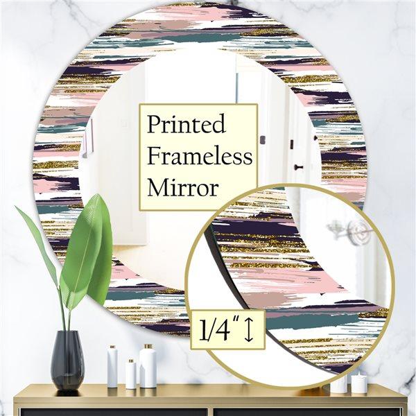 DesignArt 24-in x 24-in Gold Glitter Textured Brush Strokes and Stripes Modern Mirror