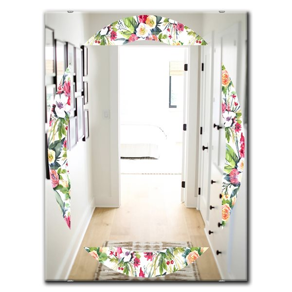 DesignArt 35.4-in x 23.6-in Green Flowers 7 Traditional Rectangular Mirror
