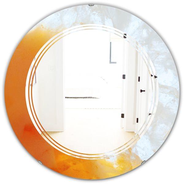 DesignArt True Yellow Stone 24-in x 24-in Modern Round Wall Mirror