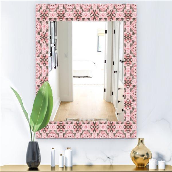DesignArt 35.4-in x 23.6-in Pink Spheres 3 Bohemian and Eclectic Rectangular Mirror