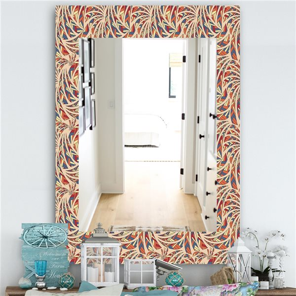 DesignArt 35.4-in x 23.6-in Ethnic Pattern Bohemian and Eclectic Rectangular Mirror