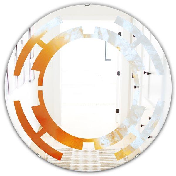 DesignArt 24-in True Yellow Stone Modern Round Wall Mirror