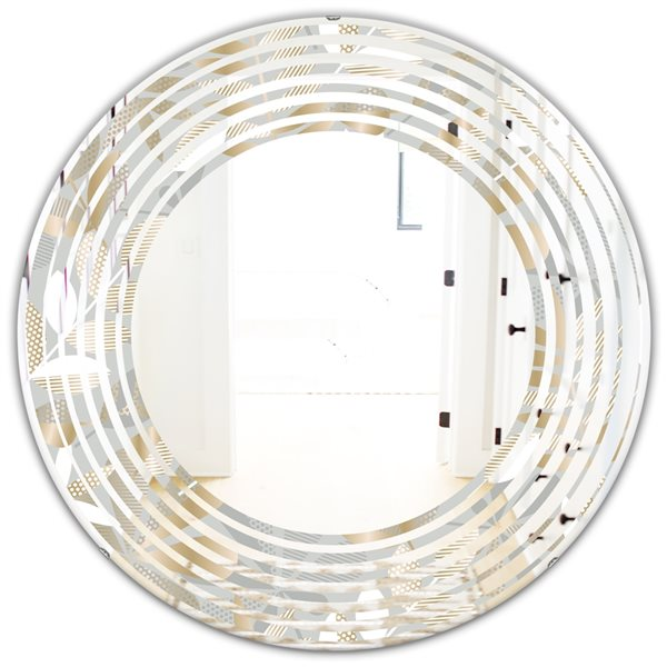 DesignArt 24-in Golden Tropical Pattern VIII - Modern Round Wall Mirror