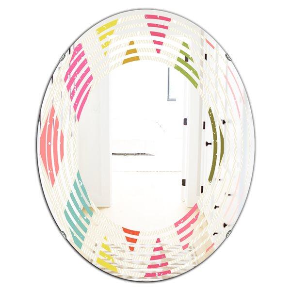 DesignArt 31.5-in x 23.7-in Diamond Retro III Modern Oval Wall Mirror