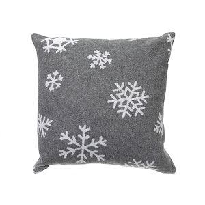 Coussin gris en laine peignée d'IH Casa Decor, flocons de neige, ens. de 2