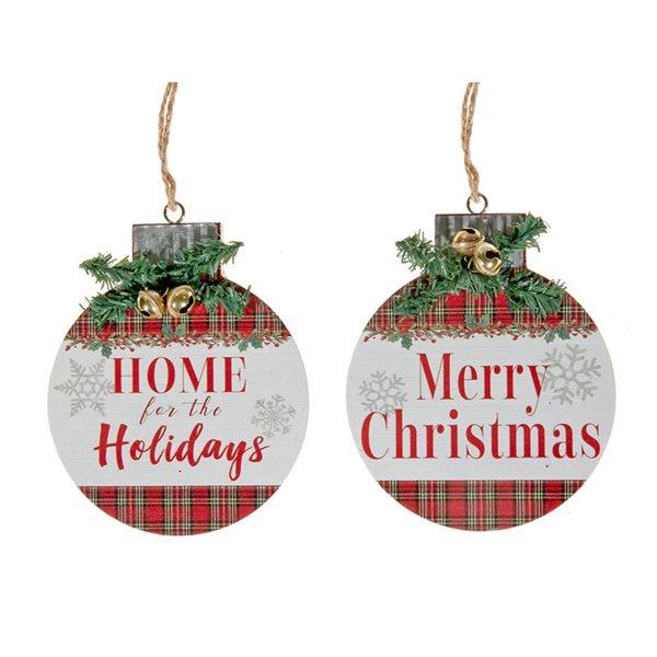Ornements de Noël en bois IH Casa Decor ronds à carreaux, paquet de 2